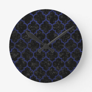 TILE1 BLACK MARBLE & BLUE LEATHER ROUND CLOCK