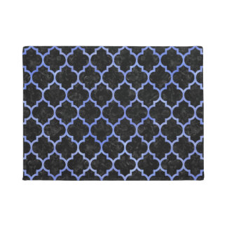 TILE1 BLACK MARBLE & BLUE WATERCOLOR DOORMAT