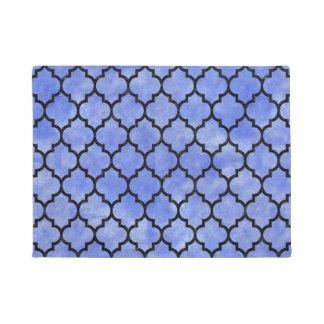 TILE1 BLACK MARBLE & BLUE WATERCOLOR (R) DOORMAT