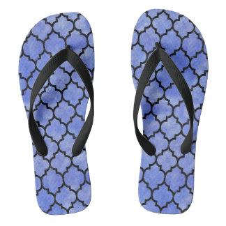 TILE1 BLACK MARBLE & BLUE WATERCOLOR (R) FLIP FLOPS