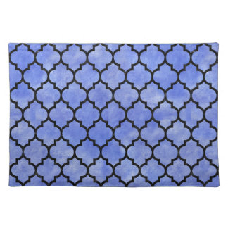 TILE1 BLACK MARBLE & BLUE WATERCOLOR (R) PLACEMAT
