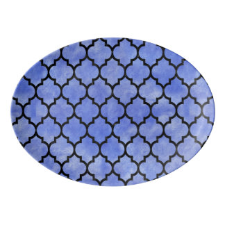 TILE1 BLACK MARBLE & BLUE WATERCOLOR (R) PORCELAIN SERVING PLATTER
