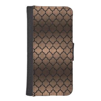 TILE1 BLACK MARBLE & BRONZE METAL (R) iPhone SE/5/5s WALLET CASE