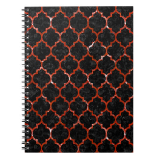 TILE1 BLACK MARBLE & RED MARBLE SPIRAL NOTEBOOK
