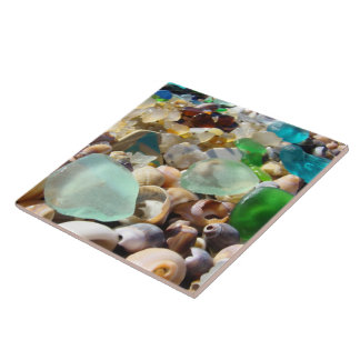 Tile Art Blue Green Beach Seaglass Agates Shells