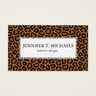 Tile background with a leopard fur business card