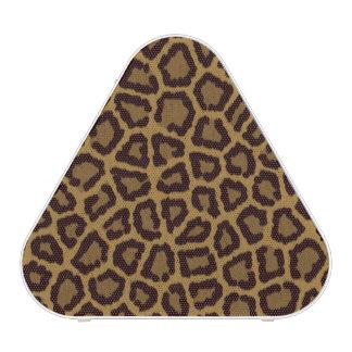 Tile background with a leopard fur speaker