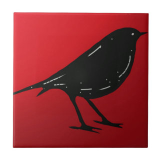 Tile Black Bird Red