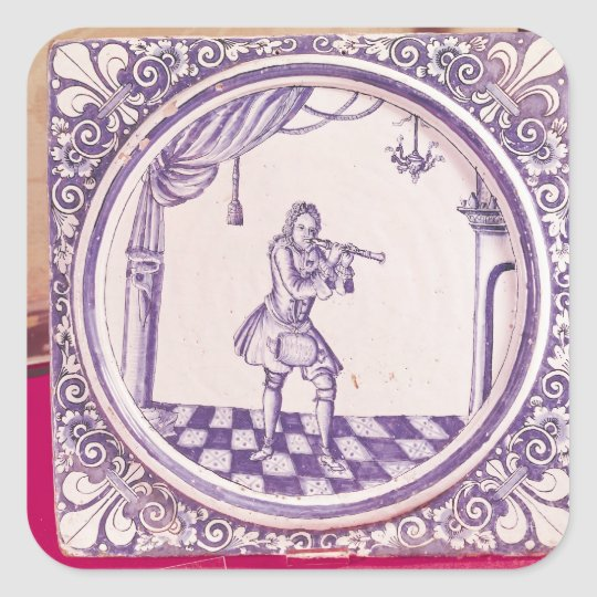 Tile depicting a clarinetist, 1706 square sticker