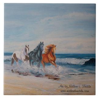 Tile, Horses in the Surf Tile