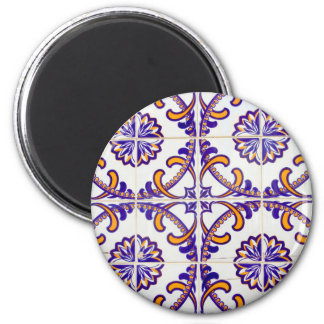 Tile pattern close-up, Portugal 2 Inch Round Magnet