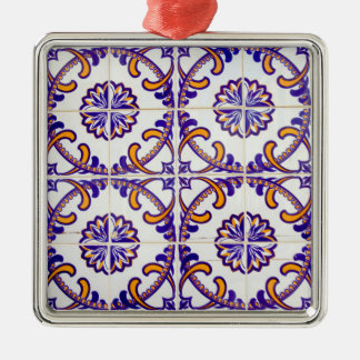 Tile pattern close-up, Portugal Silver-Colored Square Ornament