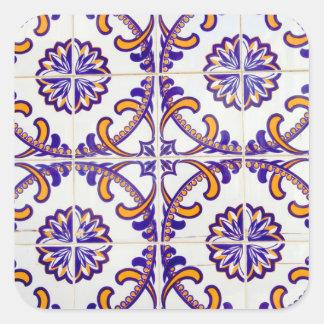 Tile pattern close-up, Portugal Square Sticker