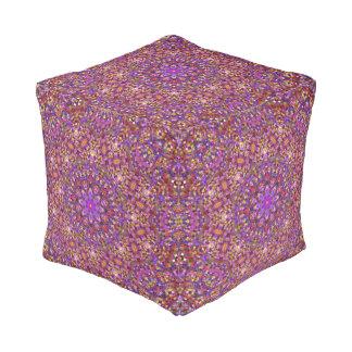 Tile Style Pattern Pouf Cube, 2 sizes