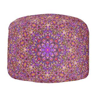 Tile Style Pattern   Round Poufs