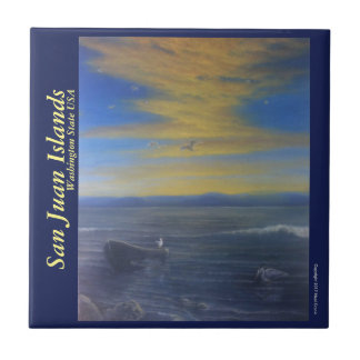 Tile Trivet; Seascape and Seagulls in Sunset.