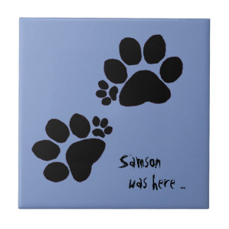Tile - Two Polydactyl Paw Prints