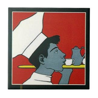 Tile Vintage Advertisement Chef Waiter Tea profile