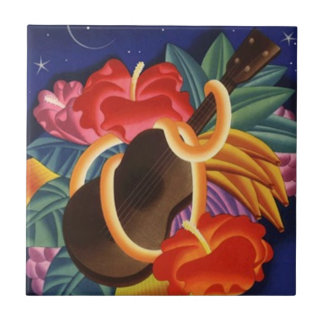 Tile Vintage Aloha Ukulele Hawaiian Night Flowers