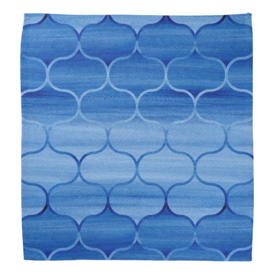 Tiled Blue Watercolor Ogee Pattern Bandannas