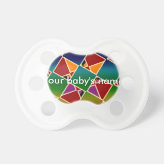Tiled Colorful Squared Pattern Baby Pacifier. Pacifiers