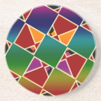 Tiled Colorful Squared Pattern Coaster