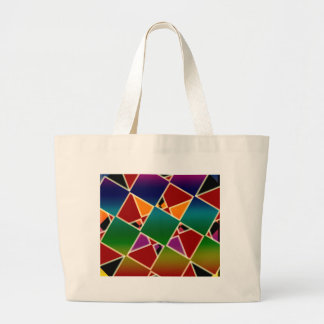 Tiled Colorful Squared Pattern Large Tote Bag