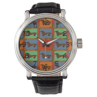 Tiled Dachshund Abstract Watch