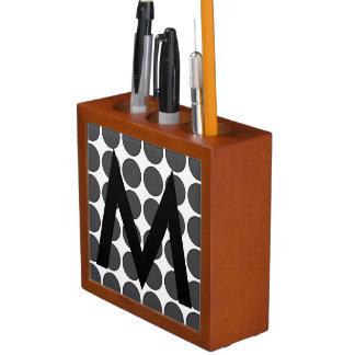 Tiled DarkGrey Dots Desk Organizer