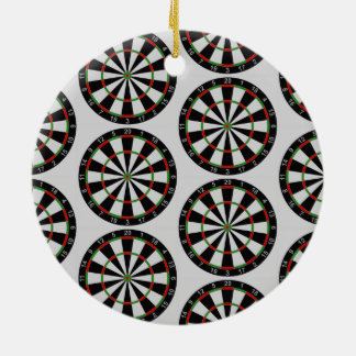 Tiled Darts Target Pattern Round Ceramic Ornament