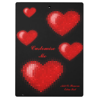 Tiled Mosaic Hearts (Bright Red) Clipboards