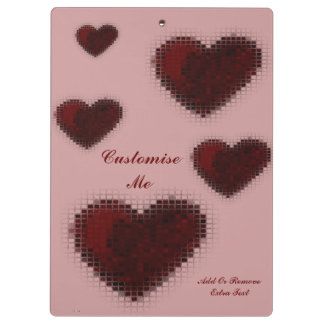 Tiled Mosaic Hearts (Deep Red) Clipboards