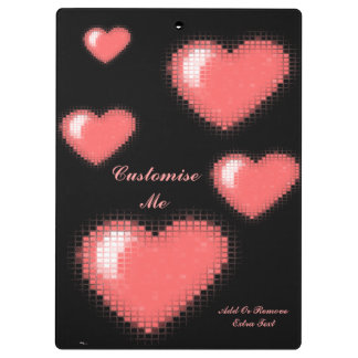 Tiled Mosaic Hearts (Pink) Clipboard