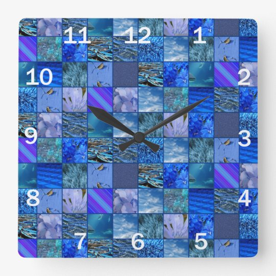 Tiled Mosaic in Blues Photography & Design Pattern Clock