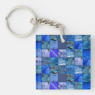 Tiled Mosaic in Blues Photography & Design Pattern Double-Sided Square Acrylic Keychain