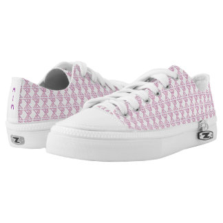 Tiled Pink Chi Ro Cross with Initials Low-Top Sneakers