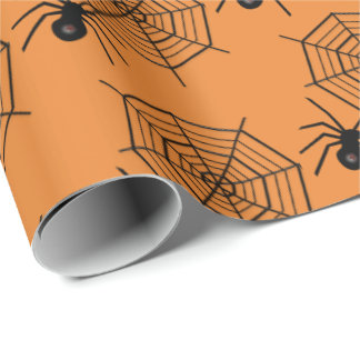 Tiled spider and web Halloween party wrap Wrapping Paper