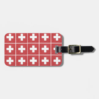 Tiled Swiss flag luggage tag