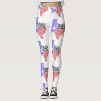 Tiled Texas Word Cloud Legging