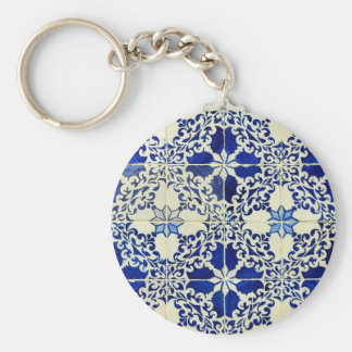 Tiles, Portuguese Tiles Basic Round Button Keychain