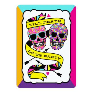 "Till Death Do Us Party - Neon Wedding (blank) 5"" X 7"" Invitation Card"