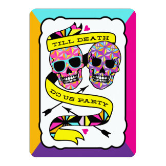 Till Death Do Us Party - Neon Wedding (blank) Card