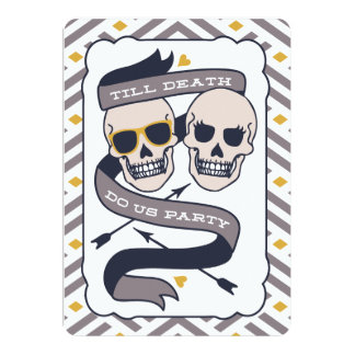 Till Death Do Us Party - Silver Blue Wedding Card