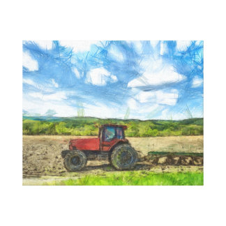 Tilling the Fields Watercolor Canvas Print
