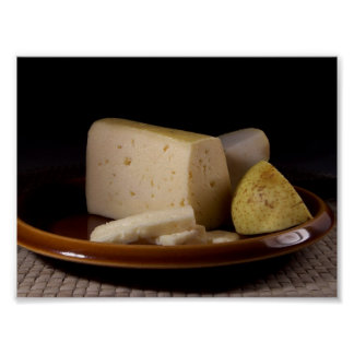 Tilsit Cheese On Plate Still Life Macro Photo From Poster