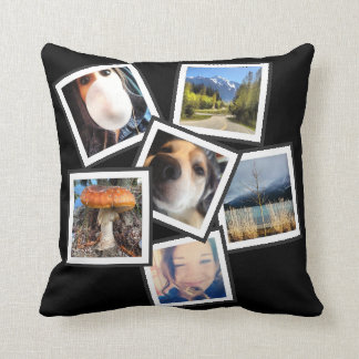 Tilted Cool  6 Instagram Photo Collage Throw Pillows