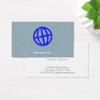 Tilted Globe Letterpress Symbol Business Card