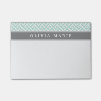 Tilted Mint Green Greek Key Pattern with Name Post-it Notes