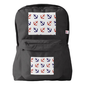 Tilted Nautical Anchor Pattern Backpack