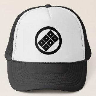 Tilted six-squrae-eyes for the Horio family Trucker Hat